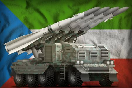 tactical short range ballistic missile with arctic camouflage on the Equatorial Guinea flag background. 3d Illustration