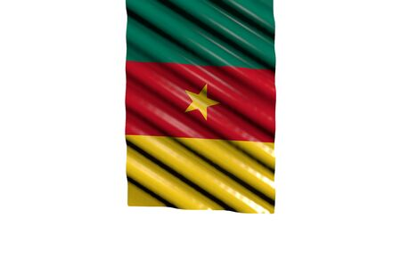 nice independence day flag 3d illustration  - glossy flag of Cameroon with big folds hangs from top isolated on white