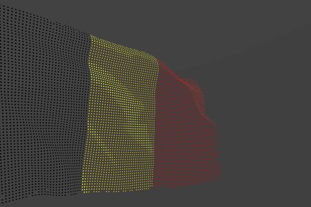 cute digital picture of Belgium isolated flag made of glowing dots wave on grey background - any holiday flag 3d illustration