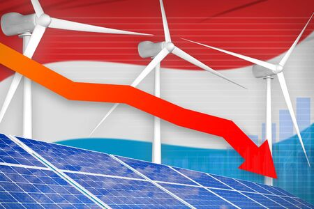 Luxembourg solar and wind energy lowering chart, arrow down  - modern energy industrial illustration. 3D Illustration Stock Photo
