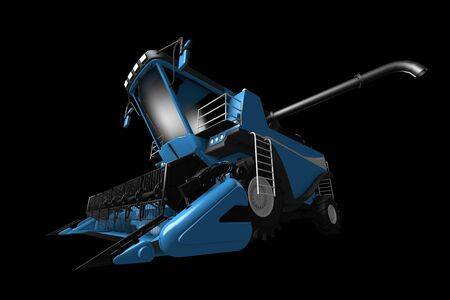 large modern blue wheat agricultural harvester with grain pipe detached front view isolated on black - industrial 3D illustration