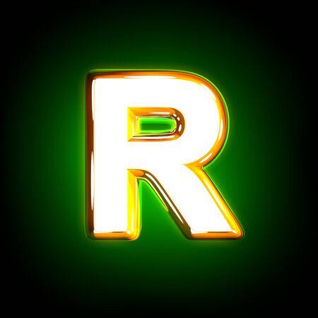 Leuchtender grüner Buchstabe R des Glanzalphabets in weißen und gelben Farben isoliert auf schwarzem Hintergrund - 3D-Darstellung von Symbolen Standard-Bild