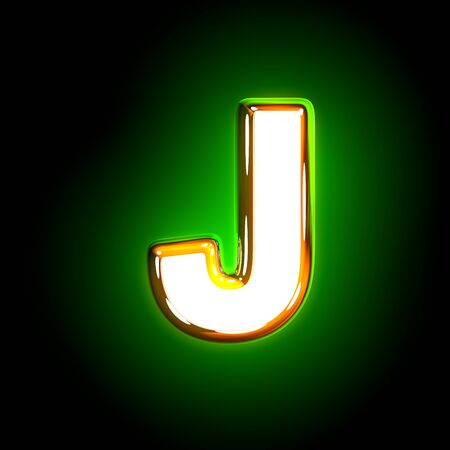 Glowing green letter J of shining alphabet of white and yellow colors isolated on black background - 3D illustration of symbols Stock Photo