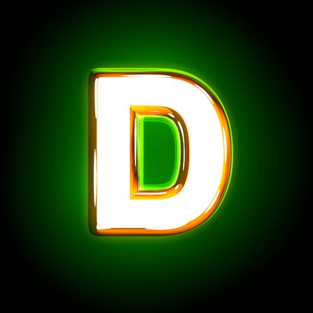shine yellow and white creative glow green font - letter D isolated on black color, 3D illustration of symbols