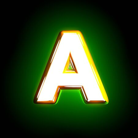 glossy yellow and white design glowing green alphabet - letter A isolated on black color, 3D illustration of symbols