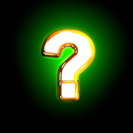 shine yellow and white creative glowing green font - question mark isolated on black color, 3D illustration of symbols