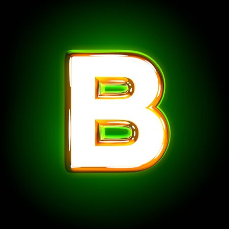 glossy yellow and white creative glow green font - letter B isolated on black color, 3D illustration of symbols