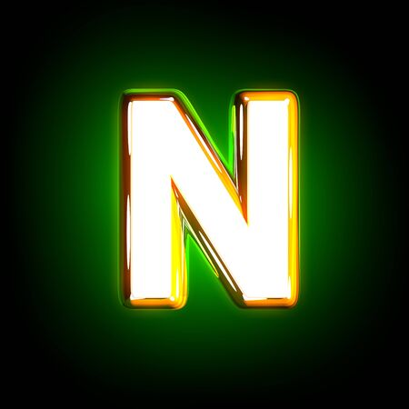 glossy yellow and white design glow green alphabet - letter N isolated on black color, 3D illustration of symbols