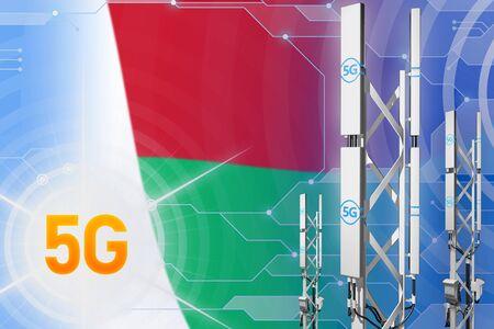 Madagascar 5G network industrial illustration, big cellular tower or mast on modern background with the flag - 3D Illustration