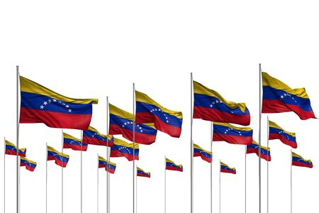 beautiful memorial day flag 3d illustration  - many Venezuela flags in a row isolated on white with free space for your content 版權商用圖片