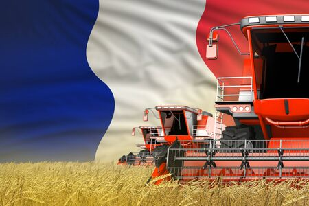 industrial 3D illustration of three red modern combine harvesters with France flag on rural field - close view, farming concept