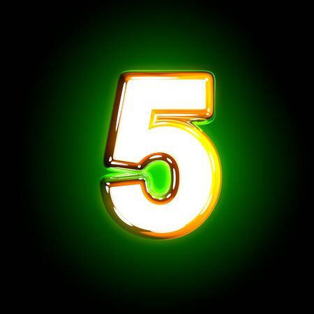 Glowing green number 5 of polished alphabet of white and yellow colors isolated on black background - 3D illustration of symbols