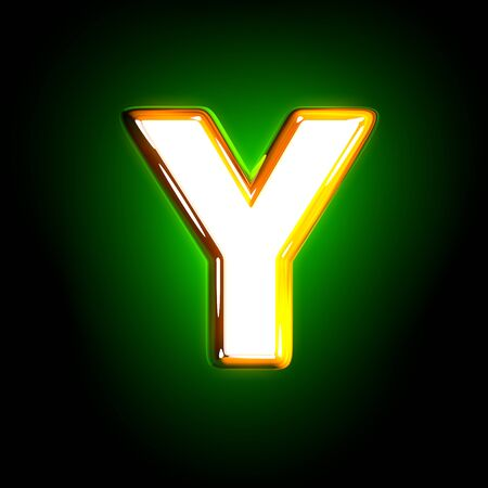 glossy yellow and white design shine green font - letter Y isolated on black color, 3D illustration of symbols