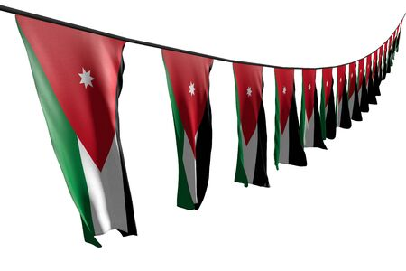 wonderful many Jordan flags or banners hanging diagonal with perspective view on rope isolated on white - any feast flag 3d illustration Stock Photo