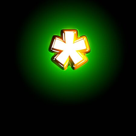 Glowing green asterisk of shine font of white and yellow colors isolated on black background - 3D illustration of symbols