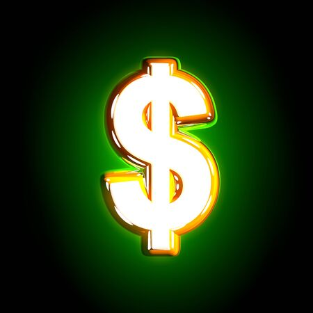 polished yellow and white design glow green alphabet - dollar - peso sign isolated on black color, 3D illustration of symbols