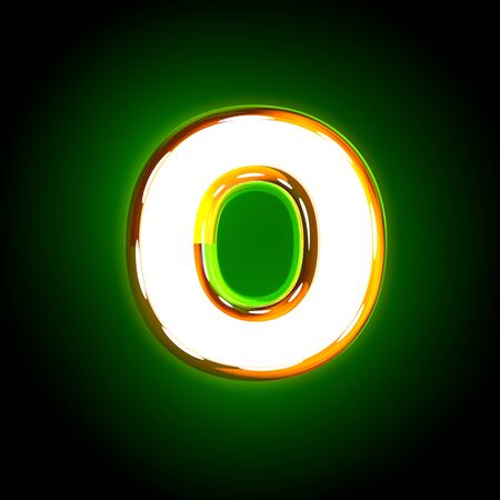 glossy yellow and white design glow green alphabet - letter O isolated on black color, 3D illustration of symbols
