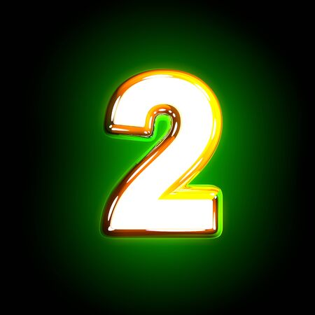 Glowing green number 2 of shine alphabet of white and yellow colors isolated on black background - 3D illustration of symbols Stock Photo