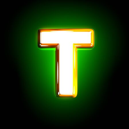 glossy yellow and white creative glow green alphabet - letter T isolated on black color, 3D illustration of symbols