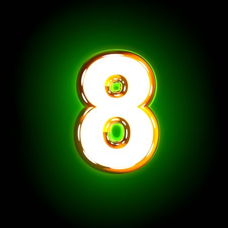 Glowing green number 8 of polished font of white and yellow colors isolated on black background - 3D illustration of symbols