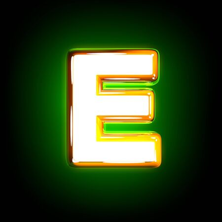 glossy yellow and white design shine green font - letter E isolated on black color, 3D illustration of symbols 写真素材