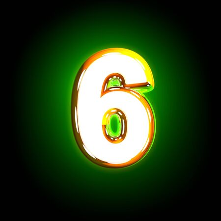 polished yellow and white creative shine green font - number 6 isolated on black color, 3D illustration of symbols