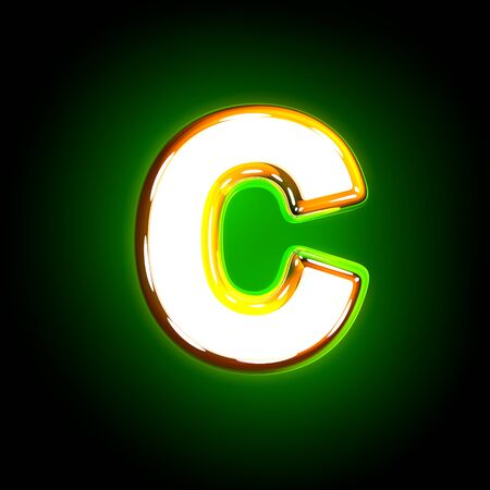 shine yellow and white creative shine green font - letter C isolated on black color, 3D illustration of symbols