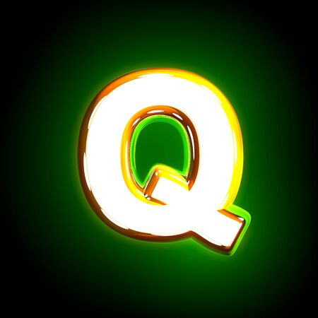 Glowing green letter Q of polished font of white and yellow colors isolated on black background - 3D illustration of symbols