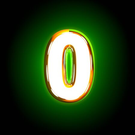 Glowing green number 0 of glossy alphabet of white and yellow colors isolated on black background - 3D illustration of symbols