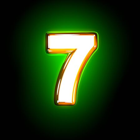 Glowing green number 7 of shine font of white and yellow colors isolated on black background - 3D illustration of symbols Stock Photo