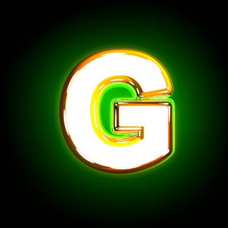 Glowing green letter G of shine alphabet of white and yellow colors isolated on black background - 3D illustration of symbols