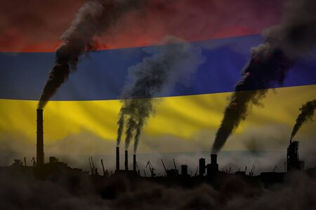 heavy smoke of plant chimneys on Mauritius flag - global warming concept, background with space for your logo - industrial 3D illustration