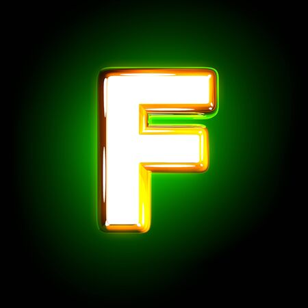 glossy yellow and white design shining green font - letter F isolated on black color, 3D illustration of symbols Stock Photo