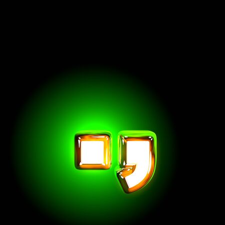 Glowing green period (full stop) and comma of shine alphabet of white and yellow colors isolated on black background - 3D illustration of symbols