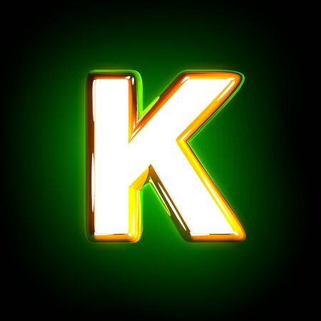 polished yellow and white design glowing green alphabet - letter K isolated on black color, 3D illustration of symbols