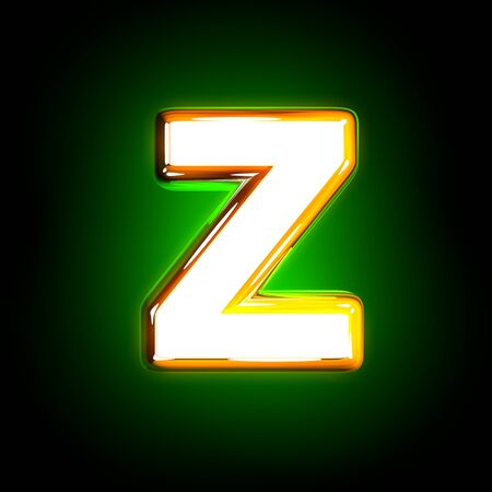 Glowing green letter Z of polished alphabet of white and yellow colors isolated on black background - 3D illustration of symbols