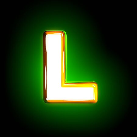 shine yellow and white creative shine green alphabet - letter L isolated on black color, 3D illustration of symbols Zdjęcie Seryjne