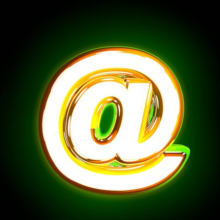 Glowing green at sign of shine font of white and yellow colors isolated on black background - 3D illustration of symbols Stock Photo