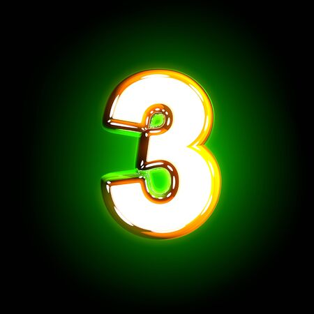 Glowing green number 3 of glossy alphabet of white and yellow colors isolated on black background - 3D illustration of symbols Stock Photo