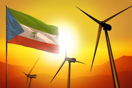 Equatorial Guinea wind energy, alternative energy environment concept with turbines and flag on sunset - alternative renewable energy - industrial illustration, 3D illustration