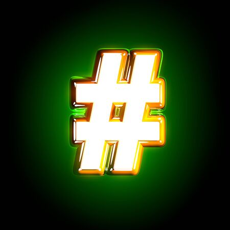 Glowing green number sign of shine font of white and yellow colors isolated on black background - 3D illustration of symbols