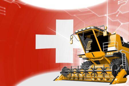 Digital industrial 3D illustration of yellow advanced rural combine harvester on Switzerland flag - agriculture equipment innovation concept 版權商用圖片