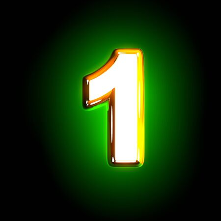 Glowing green number 1 of shine font of white and yellow colors isolated on black background - 3D illustration of symbols Stock Photo