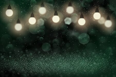teal, sea-green fantastic sparkling abstract background glitter lights with light bulbs and falling snow flakes fly defocused bokeh - festive mockup texture with blank space for your content
