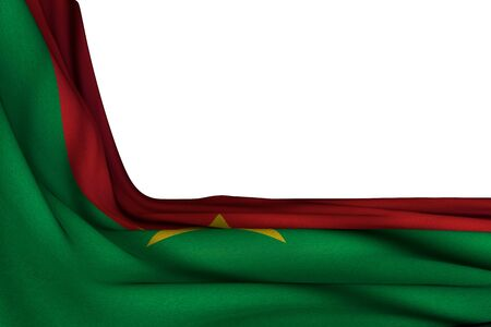 nice isolated mockup of Burkina Faso flag hanging in corner on white with free space for text - any celebration flag 3d illustration