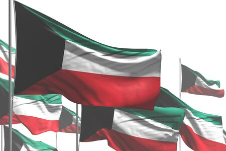 nice national holiday flag 3d illustration  - many Kuwait flags are waving isolated on white 版權商用圖片