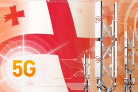 Georgia 5G network industrial illustration, big cellular tower or mast on hi-tech background with the flag - 3D Illustration