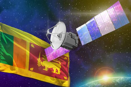 Satellite with Sri Lanka flag, space communications technology concept - 3D Illustration