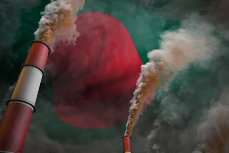 Pollution fight in Bangladesh concept - industrial 3D illustration of two huge factory chimneys with dense smoke on flag background