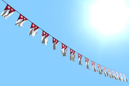 cute any occasion flag 3d illustration  - many Nepal flags or banners hanging diagonal on string on blue sky background with soft focus